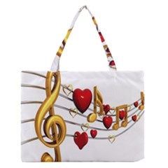 Music Notes Heart Beat Medium Zipper Tote Bag by Mariart