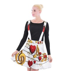 Music Notes Heart Beat Suspender Skater Skirt by Mariart