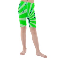 Music Notes Light Line Green Kids  Mid Length Swim Shorts by Mariart