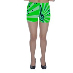 Music Notes Light Line Green Skinny Shorts by Mariart