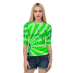 Music Notes Light Line Green Quarter Sleeve Tee by Mariart