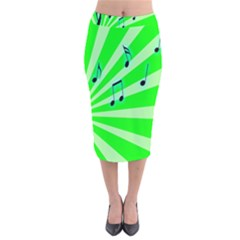 Music Notes Light Line Green Velvet Midi Pencil Skirt by Mariart