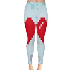 Red Heart Love Plaid Red Blue Leggings  by Mariart