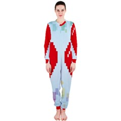 Red Heart Love Plaid Red Blue Onepiece Jumpsuit (ladies)