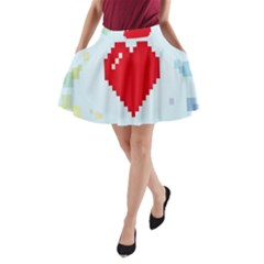 Red Heart Love Plaid Red Blue A Line Pocket Skirt