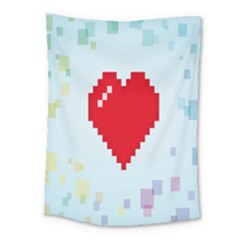 Red Heart Love Plaid Red Blue Medium Tapestry by Mariart