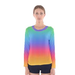 Plaid Rainbow Retina Green Purple Red Yellow Women s Long Sleeve Tee by Mariart