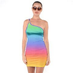 Plaid Rainbow Retina Green Purple Red Yellow One Soulder Bodycon Dress