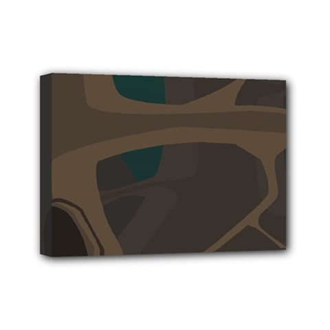 Tree Jungle Brown Green Mini Canvas 7  X 5  by Mariart