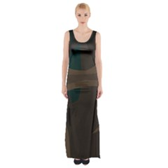 Tree Jungle Brown Green Maxi Thigh Split Dress