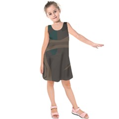 Tree Jungle Brown Green Kids  Sleeveless Dress by Mariart