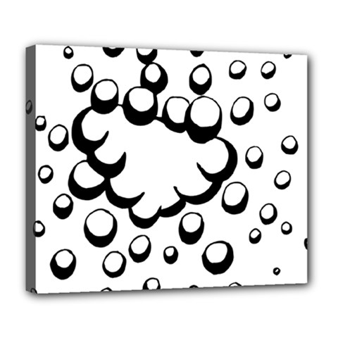 Splash Bubble Black White Polka Circle Deluxe Canvas 24  X 20   by Mariart