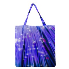 Neon Light Line Vertical Blue Grocery Tote Bag by Mariart