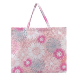 Scrapbook Paper Iridoby Flower Floral Sunflower Rose Zipper Large Tote Bag by Mariart