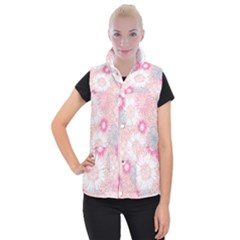 Scrapbook Paper Iridoby Flower Floral Sunflower Rose Women s Button Up Puffer Vest by Mariart