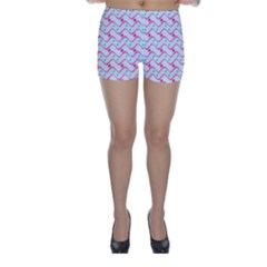 Squiggle Red Blue Milk Glass Waves Chevron Wave Pink Skinny Shorts by Mariart