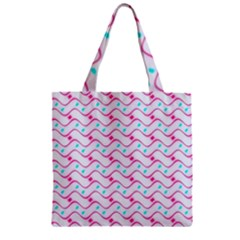 Squiggle Red Blue Milk Glass Waves Chevron Wave Pink Zipper Grocery Tote Bag by Mariart