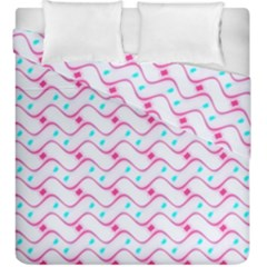 Squiggle Red Blue Milk Glass Waves Chevron Wave Pink Duvet Cover Double Side (king Size)