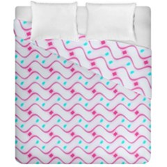 Squiggle Red Blue Milk Glass Waves Chevron Wave Pink Duvet Cover Double Side (california King Size) by Mariart