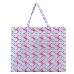 Squiggle Red Blue Milk Glass Waves Chevron Wave Pink Zipper Large Tote Bag by Mariart