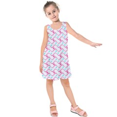 Squiggle Red Blue Milk Glass Waves Chevron Wave Pink Kids  Sleeveless Dress by Mariart