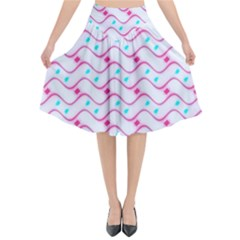 Squiggle Red Blue Milk Glass Waves Chevron Wave Pink Flared Midi Skirt by Mariart
