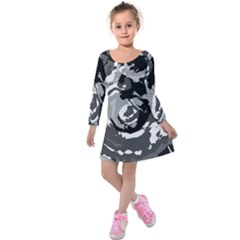 Abstract Art Kids  Long Sleeve Velvet Dress by ValentinaDesign