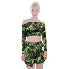 Abstract Art Off Shoulder Top With Skirt Set
