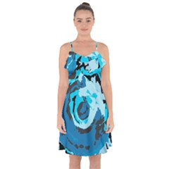 Abstract Art Ruffle Detail Chiffon Dress