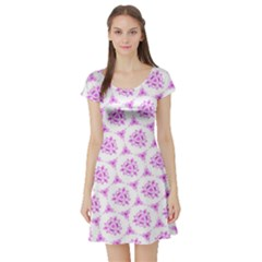 Sweet Doodle Pattern Pink Short Sleeve Skater Dress