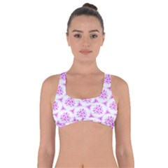 Sweet Doodle Pattern Pink Got No Strings Sports Bra