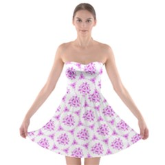 Sweet Doodle Pattern Pink Strapless Bra Top Dress