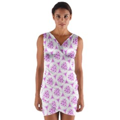 Sweet Doodle Pattern Pink Wrap Front Bodycon Dress