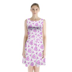 Sweet Doodle Pattern Pink Sleeveless Waist Tie Chiffon Dress