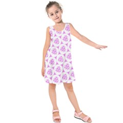 Sweet Doodle Pattern Pink Kids  Sleeveless Dress