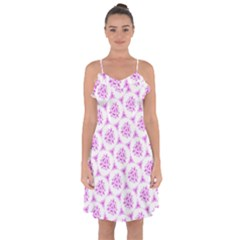 Sweet Doodle Pattern Pink Ruffle Detail Chiffon Dress