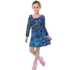 Unique Abstract Mix 1b Kids  Long Sleeve Velvet Dress by MoreColorsinLife