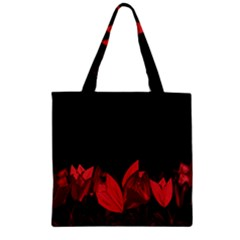 Tulips Zipper Grocery Tote Bag by ValentinaDesign