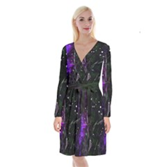 Abstract Design Long Sleeve Velvet Front Wrap Dress by ValentinaDesign