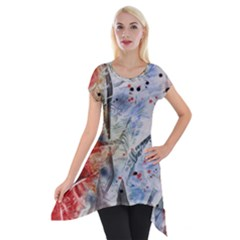 Abstract Design Short Sleeve Side Drop Tunic by ValentinaDesign
