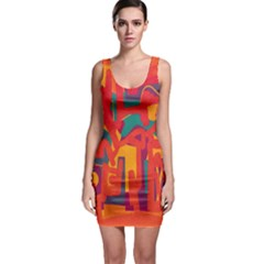 Abstract Art Sleeveless Bodycon Dress by ValentinaDesign