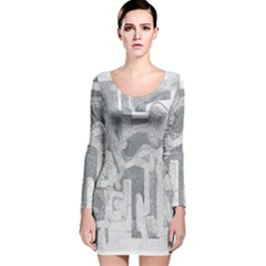 Abstract Art Long Sleeve Velvet Bodycon Dress by ValentinaDesign