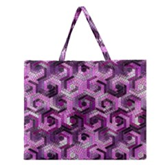 Pattern Factory 23 Pink Zipper Large Tote Bag by MoreColorsinLife