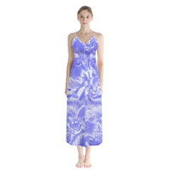 Shimmering Floral Damask,blue Chiffon Maxi Dress by MoreColorsinLife