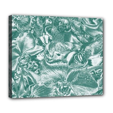 Shimmering Floral Damask, Teal Deluxe Canvas 24  X 20   by MoreColorsinLife