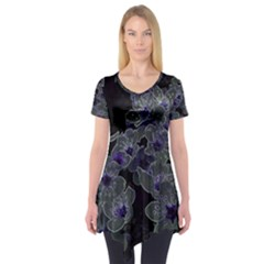 Glowing Flowers In The Dark B Short Sleeve Tunic  by MoreColorsinLife