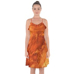 Fantastic Wood Grain Ruffle Detail Chiffon Dress by MoreColorsinLife