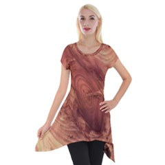 Fantastic Wood Grain,brown Short Sleeve Side Drop Tunic by MoreColorsinLife