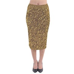 Sparkling Metal Art A Velvet Midi Pencil Skirt