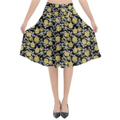 Roses Pattern Flared Midi Skirt